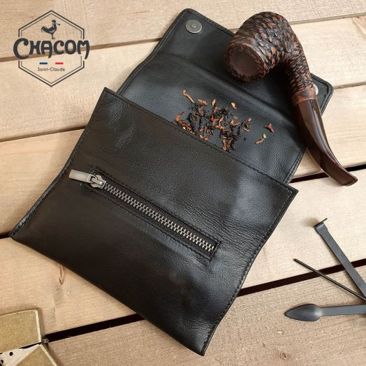 Chacom | Pipe Tobacco Pouch - Roll & Button | Black Leather (CC021 N)