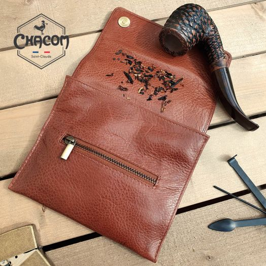 Chacom | Pipe Tobacco Pouch - Roll & Button | Tan Leather (CC021 H)